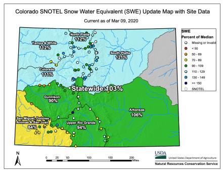 Colorado Snowpack March 9, 2020 via the NRCS.
