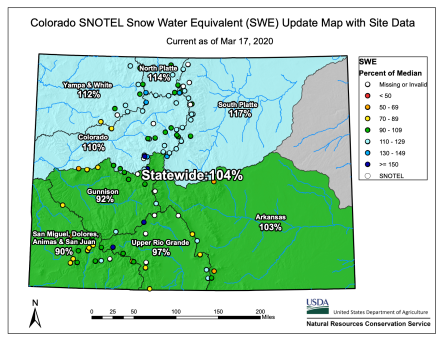 Colorado snowpack basin-filled map March 17, 2020 via the NRCS.