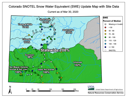 Colorado snowpack basin-filled map March 30, 2020 via the NRCS.