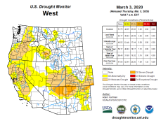 West Drought Monitor March 3, 2020.