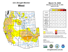 West Drought Monitor March 10, 2020.