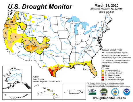 US Drought Monitor March 31, 2020.