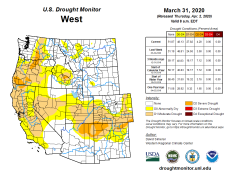 West Drought Monitor March 31, 2020.