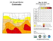 Colorado Drought Monitor May 19, 2020.