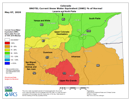 Statewide basin-filled snowpack map May 7, 2020 via the NRCS.