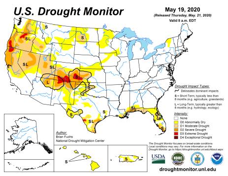 US Drought Monitor May 19, 2020.
