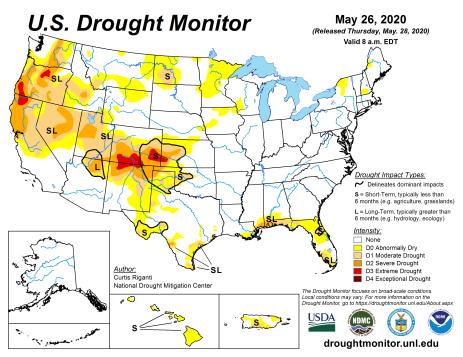 US Drought Monitor May 26, 2020.