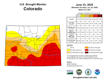 Colorado Drought Monitor June 23, 2020.