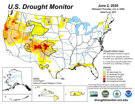 US Drought Monitor June 2, 2020.