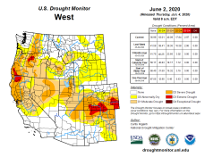 West Drought Monitor June 2, 2020.