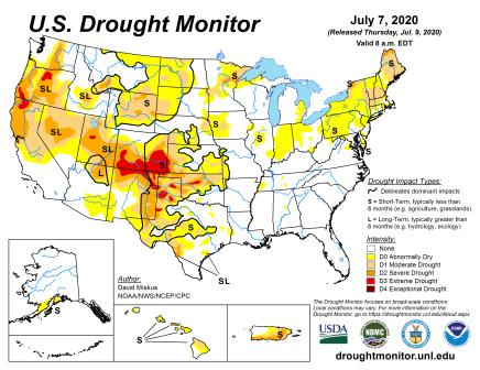 US Drought Monitor July 7, 2020.