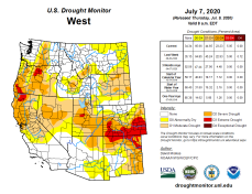 West Drought Monitor July 7, 2020.